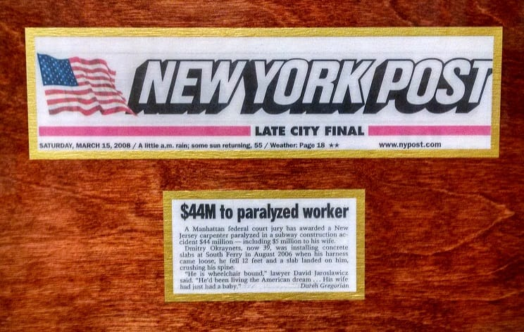 82 2008 PARALYZED CONSTRUCTION WORKER AWARDED $44 MILLION AFTER TRIAL